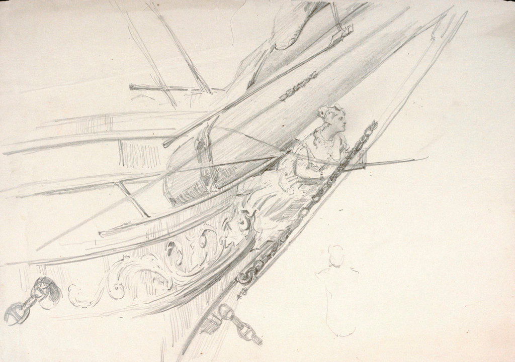 Detail of Study of a ship's bow with figurehead by William Lionel Wyllie