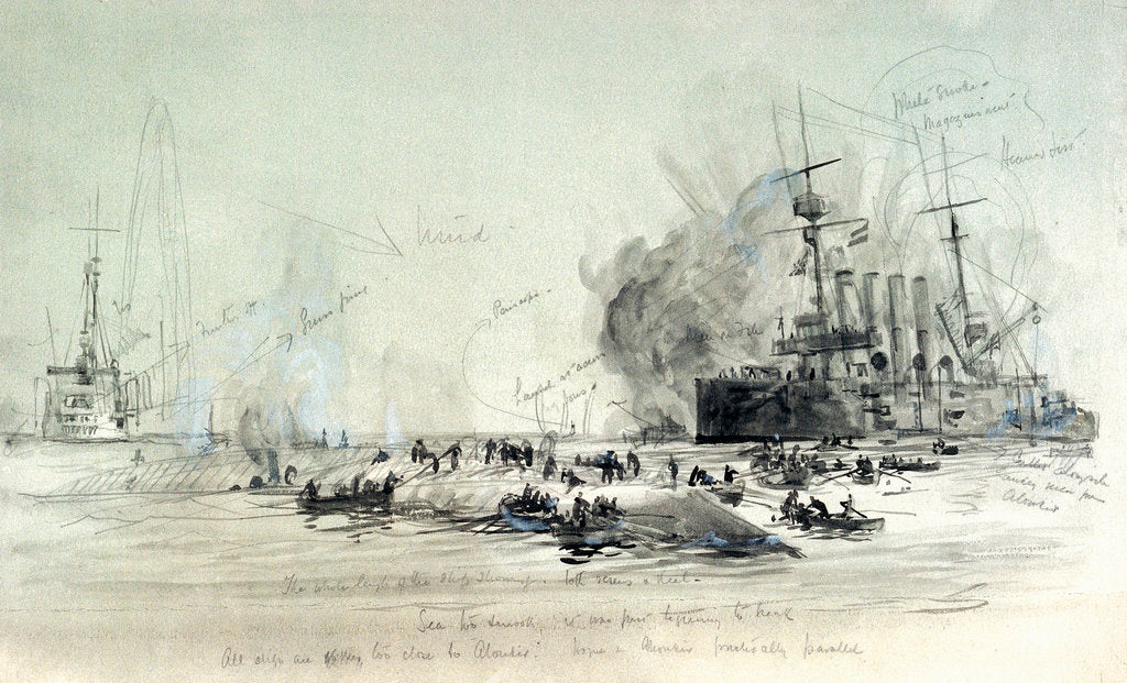 Detail of HMS 'Hogue', 'Cressy', 'Aboukir' by William Lionel Wyllie
