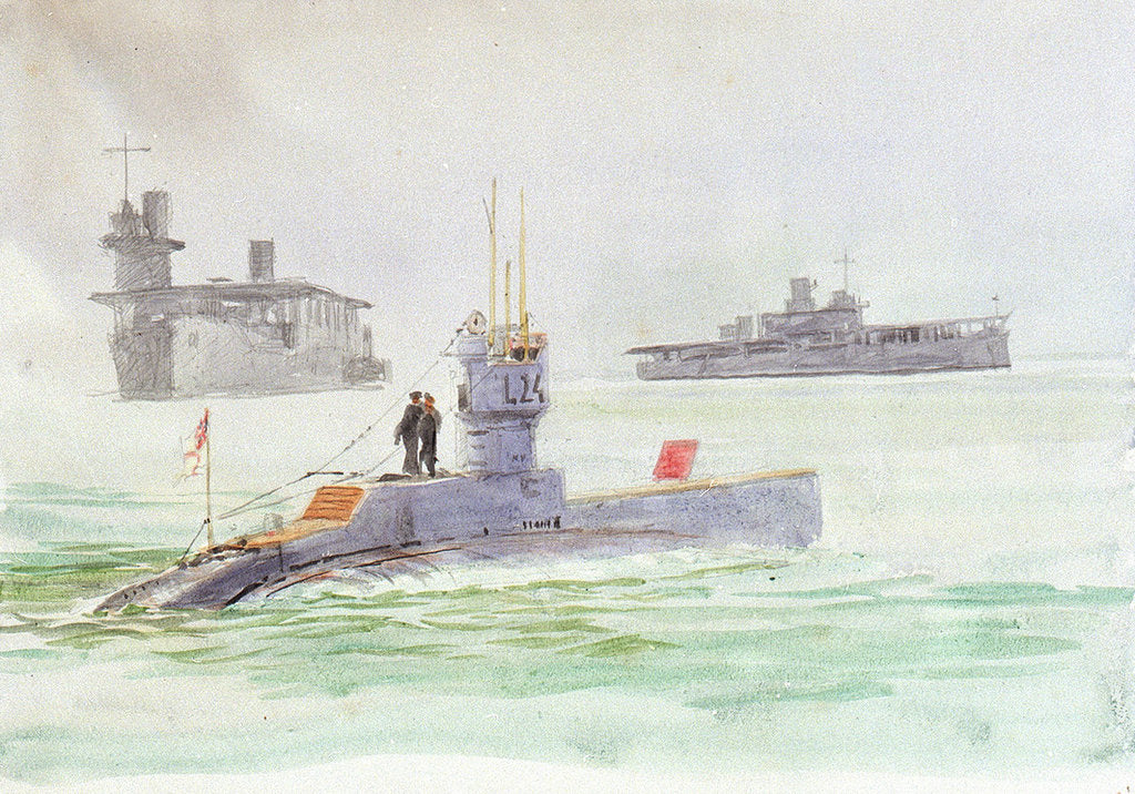 Detail of Aircraft carriers and the submarine L24 by William Lionel Wyllie