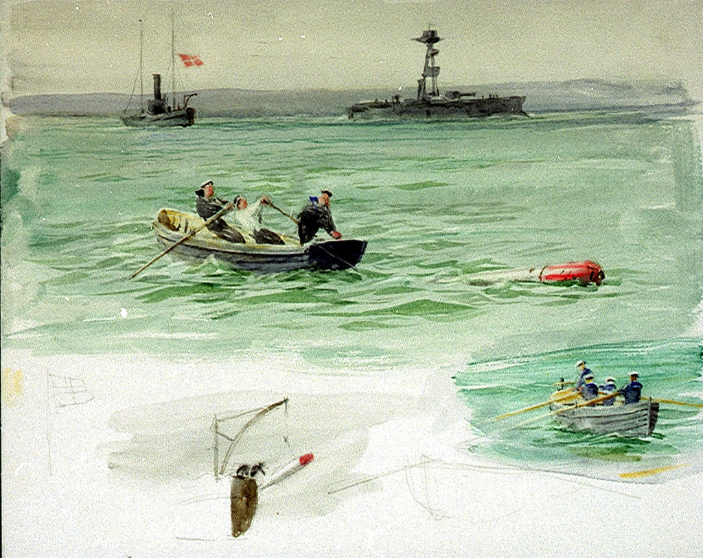 Detail of Sailors in a rowing boat retrieving an object from the sea by William Lionel Wyllie