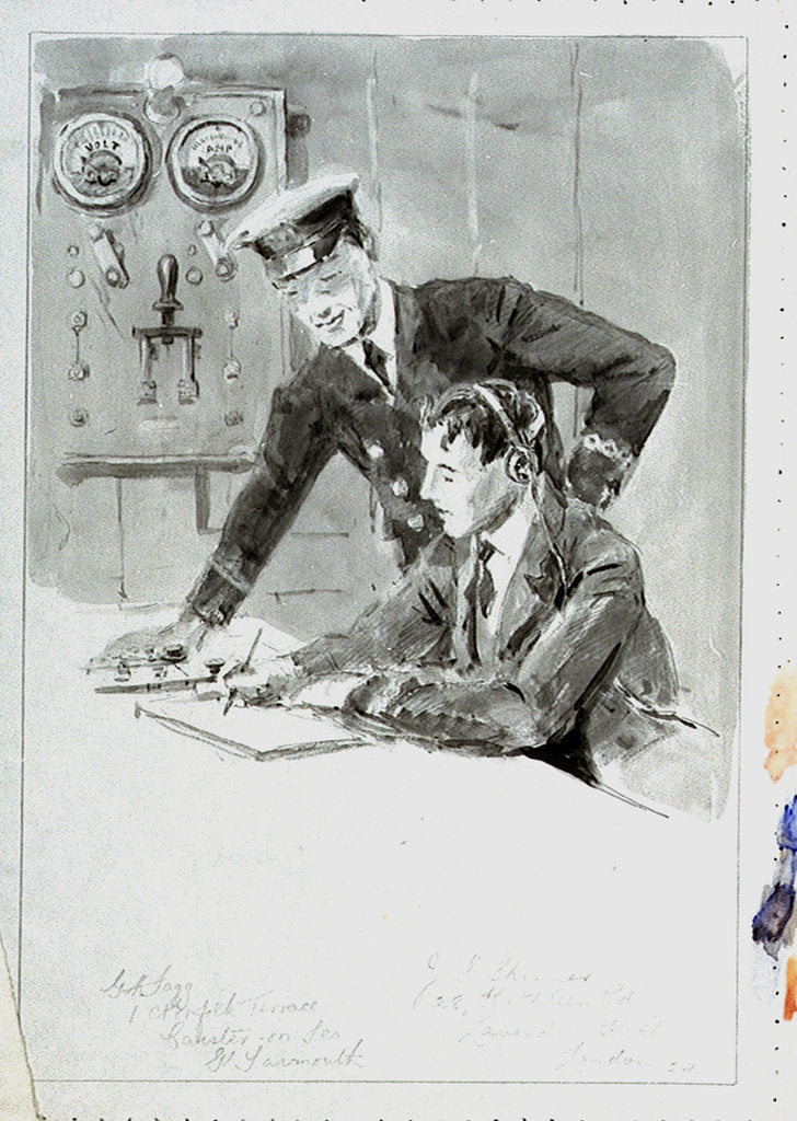 Detail of Radio operator and officer in radio room annotated with names and addresses of subjects, with the same image outlined on reverse by William Lionel Wyllie
