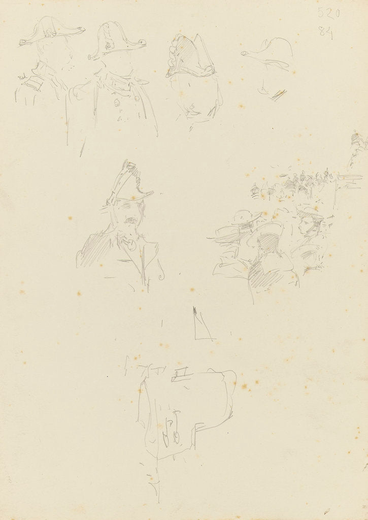 Detail of Slight studies of naval officers dress uniform, and a crowd by William Lionel Wyllie
