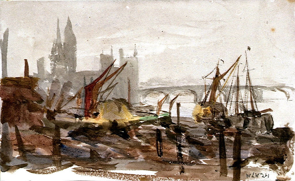 Detail of Vessels moored beside a river possibly the Thames, with bridge and large buildings outlined in background by William Lionel Wyllie