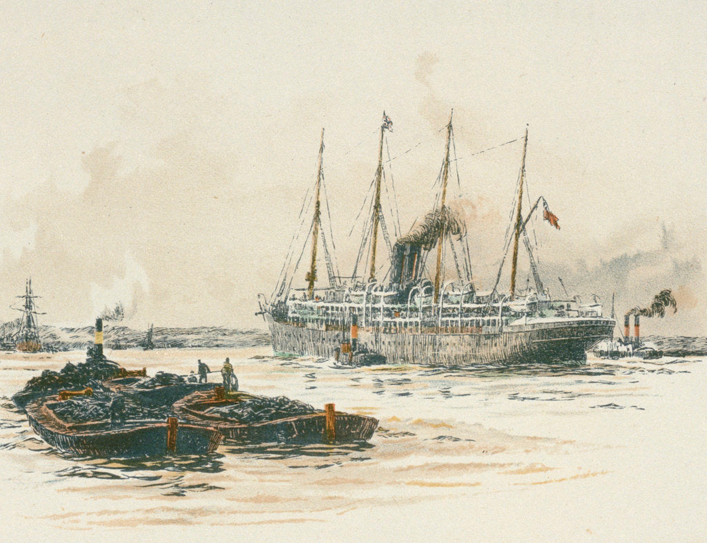 Detail of Passenger vessel 'Oruba' or 'Orotava' with barges in the foreground by William Lionel Wyllie