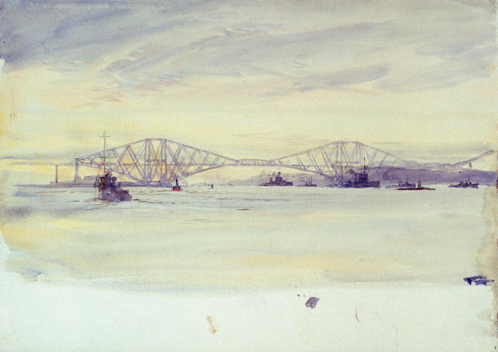 Detail of View of the Forth? bridge and various shipping by William Lionel Wyllie