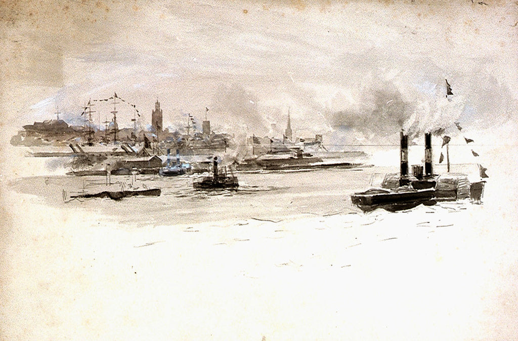 Detail of Study of a port scene, possibly London by William Lionel Wyllie