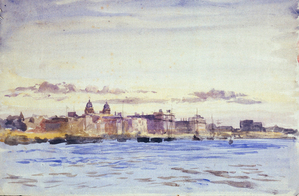 Detail of View of the Royal Naval College, Greenwich, at sunset, from Blackwall by William Lionel Wyllie