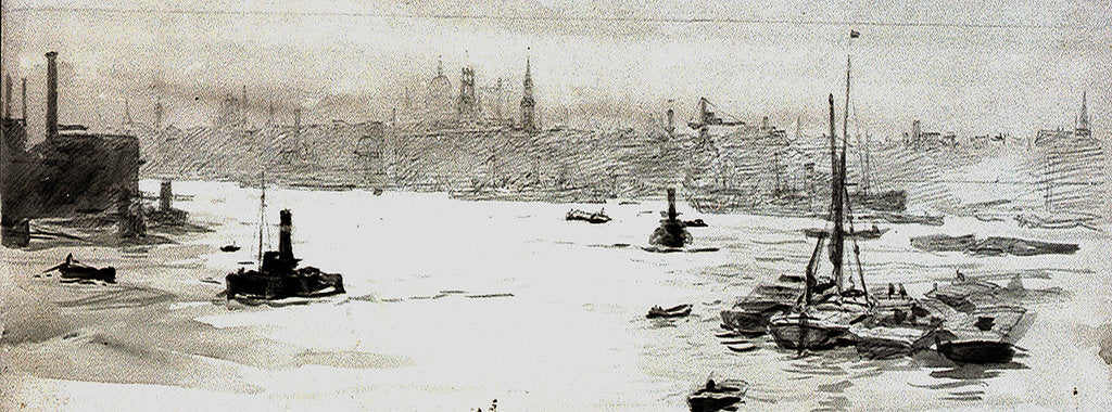 Detail of City from Limehouse by William Lionel Wyllie