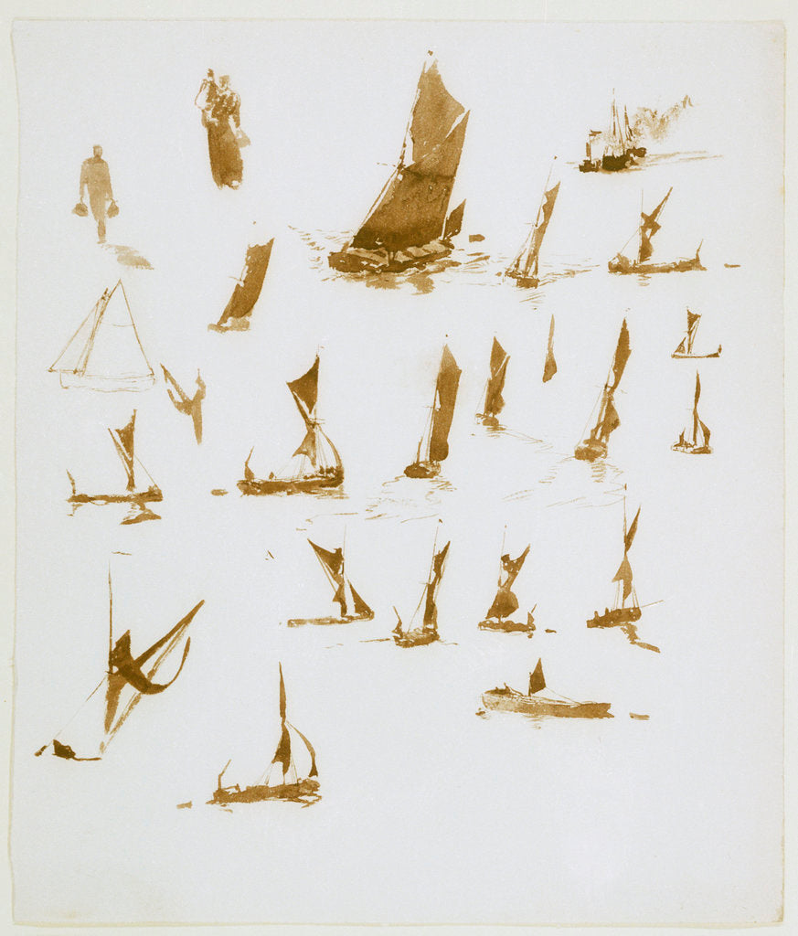 Detail of Studies of Thames barges by William Lionel Wyllie