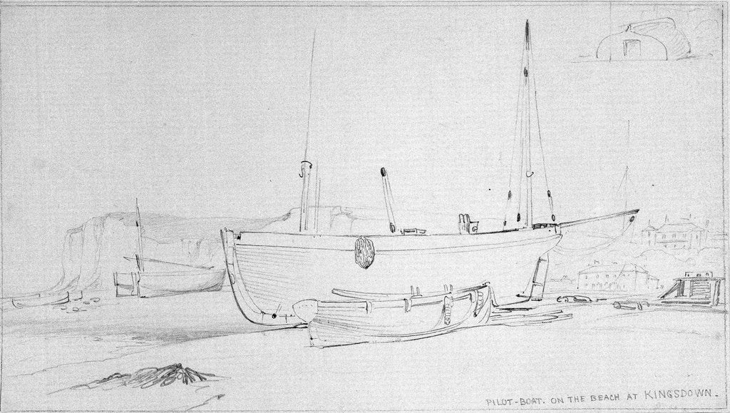 Detail of Pilot boat and other vessels beached at Kingsdown, near Deal by Edward William Cooke