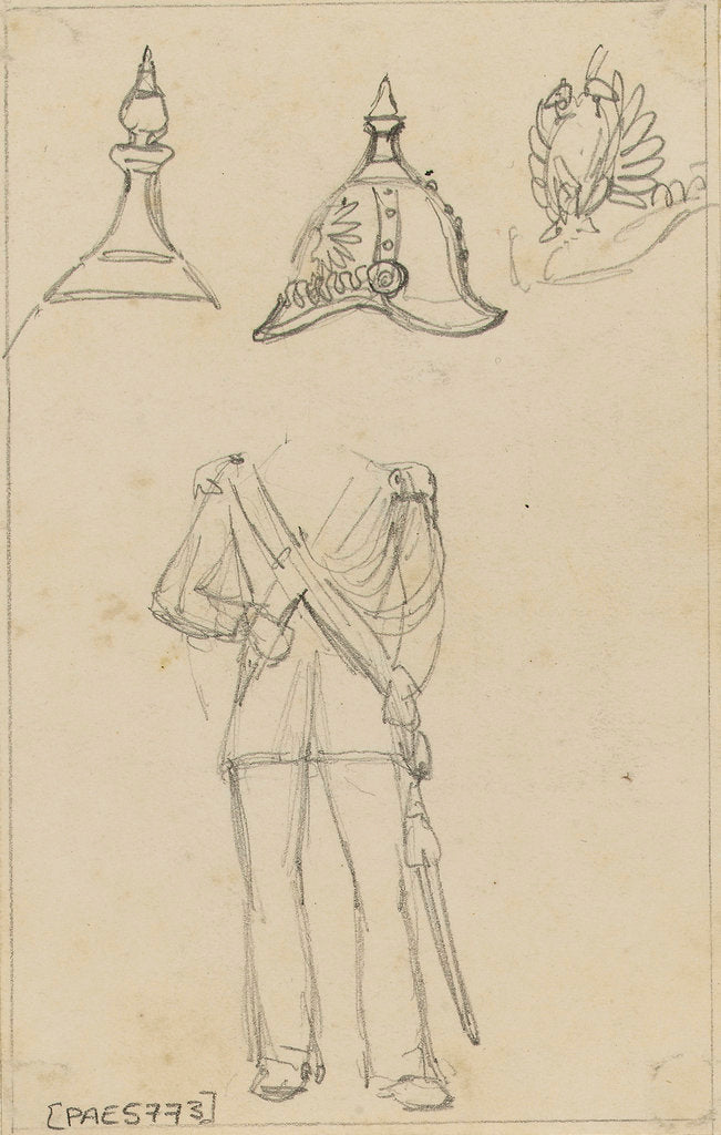 Detail of Details of military uniforms, including helmet by Edward William Cooke