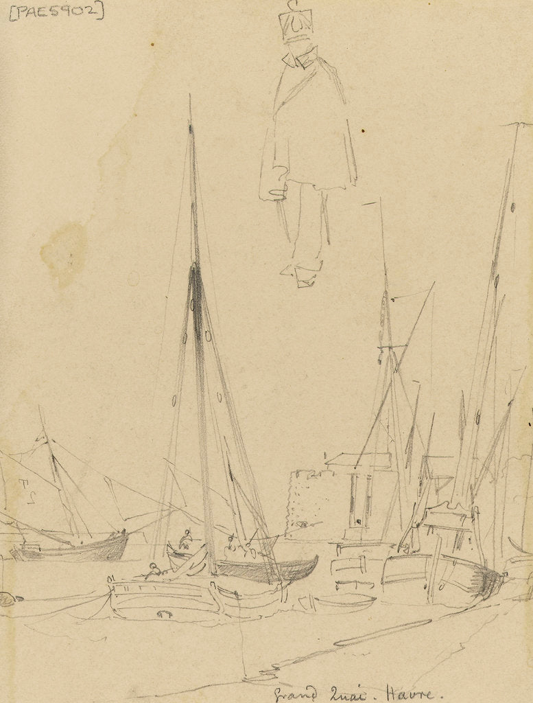 Detail of Grand Quai, Havre with a sketch of a uniformed figure by Edward William Cooke