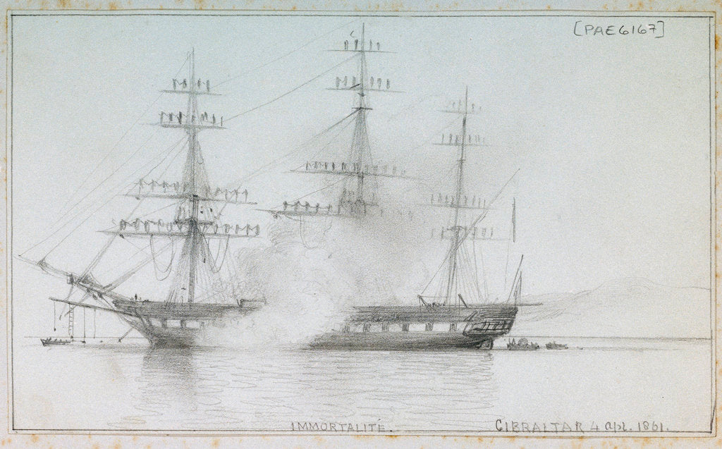 Detail of 'Immortalite' Gibraltar, 4 April 1861 by Edward William Cooke