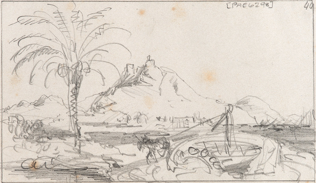 Detail of A rough sketch of a harbour with a mule working a well, and a hill and castle behind, possibly Alicante by Edward William Cooke