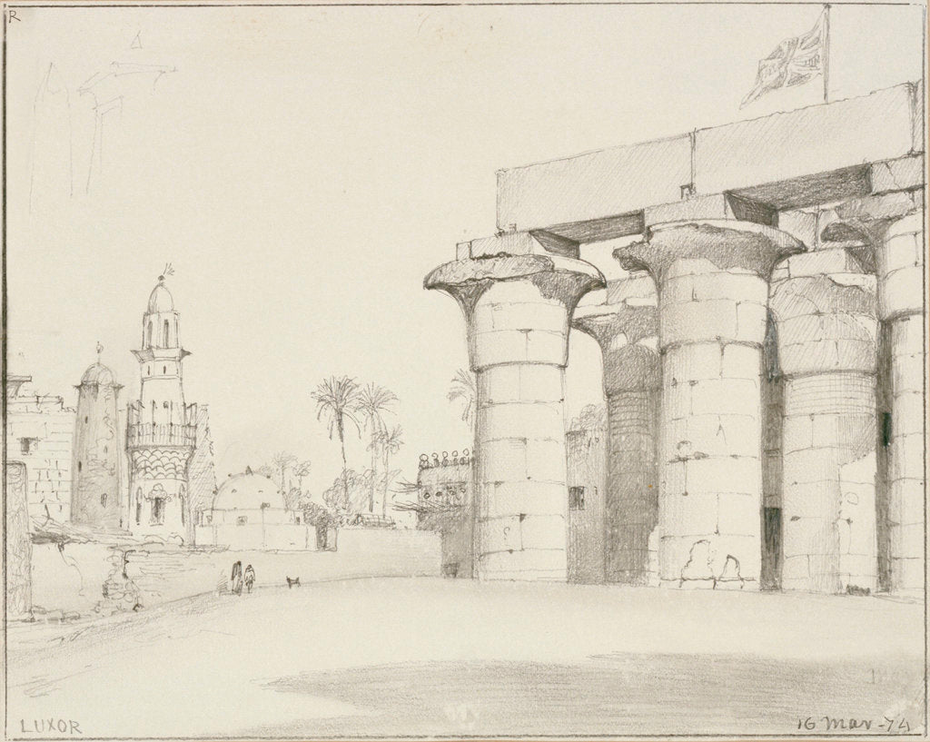 Detail of The colonnade of the Temple of Luxor, Egypt, with the Mosque of Abu'l Haggag by Edward William Cooke