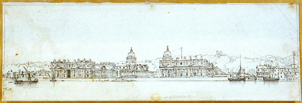 Detail of Greenwich Hospital from the river by Edward William Cooke