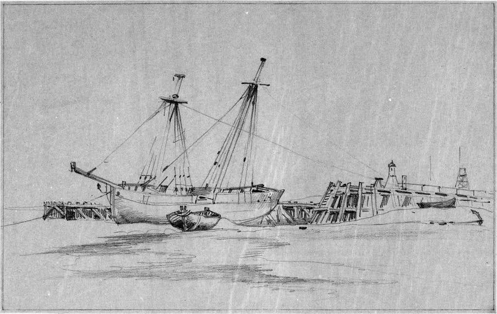 Detail of Yarmouth beach looking south with a beach yawl and other small boats drawn up by Edward William Cooke