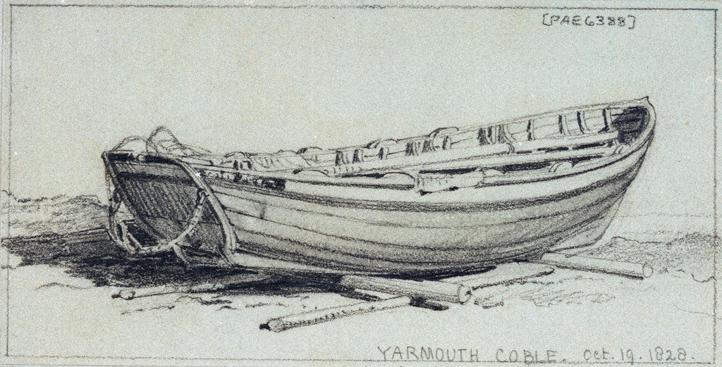 Detail of A coble hauled up on rollers on Yarmouth beach. Starbord quarter by Edward William Cooke