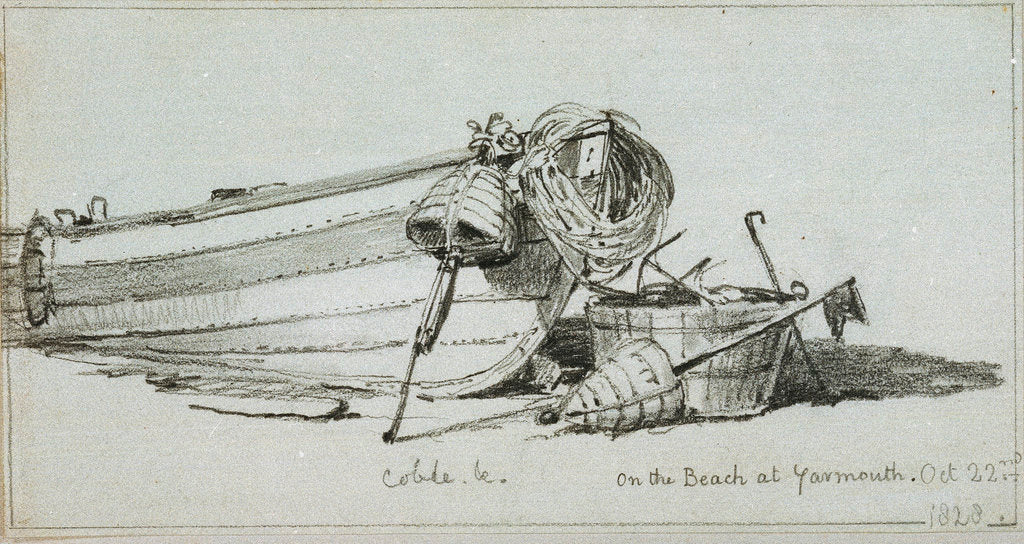 Detail of A coble on the beach at Yarmouth, starboard bow, with dan buoys and a fishing line tug by Edward William Cooke