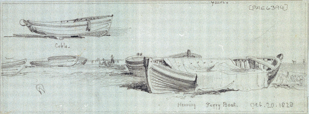 Detail of Fishing vessels hauled up Yarmouth by Edward William Cooke