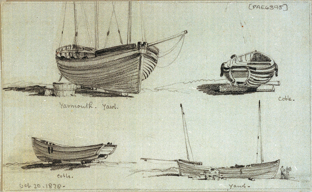 Detail of A three masted yawl, a two masted yawl and two views of a coble on Yarmouth beach by Edward William Cooke
