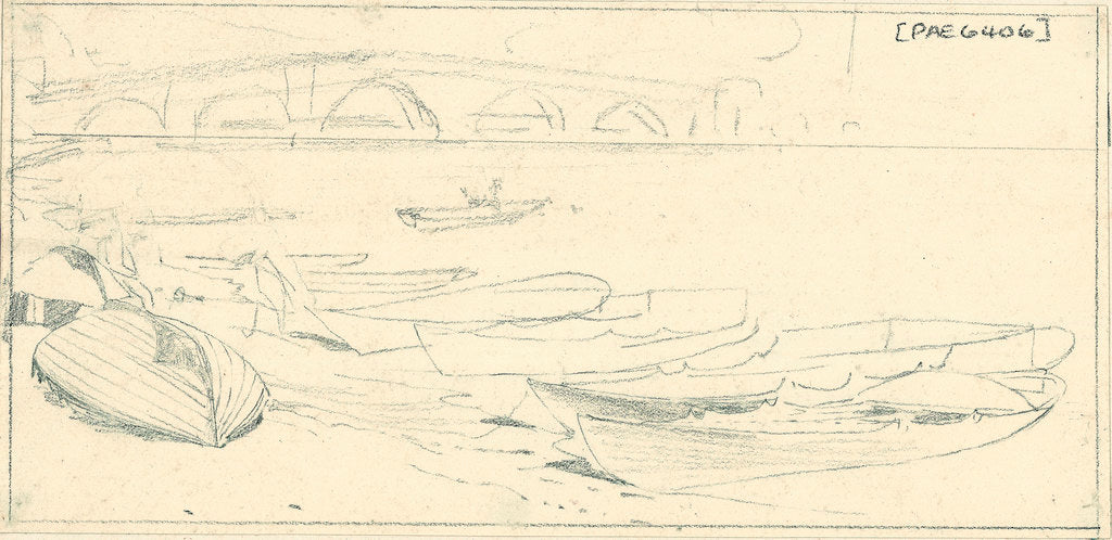 Detail of Wherries at Richmond. A slight sketch with further sketches on reverse by Edward William Cooke