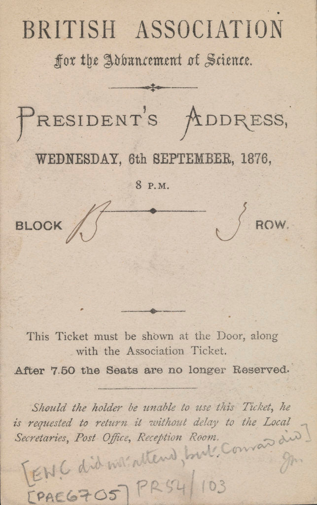 Detail of Invitation to the President's Address, British Association for the Advancement of Science, 6 September 1876 by Edward William Cooke