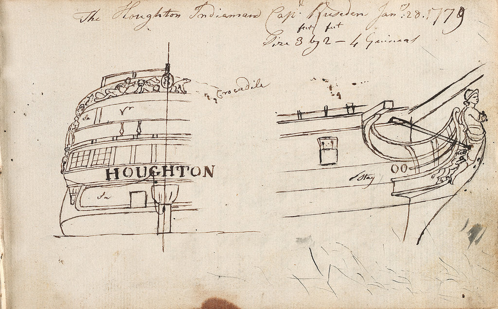 Detail of Annotated sketches of the stern, bow and figurehead of the Indiaman Houghton with inscription (on reverse) by Thomas Luny