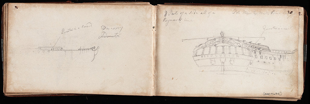 Detail of Sketch of the stern of 'Resolution' with notes by Thomas Luny