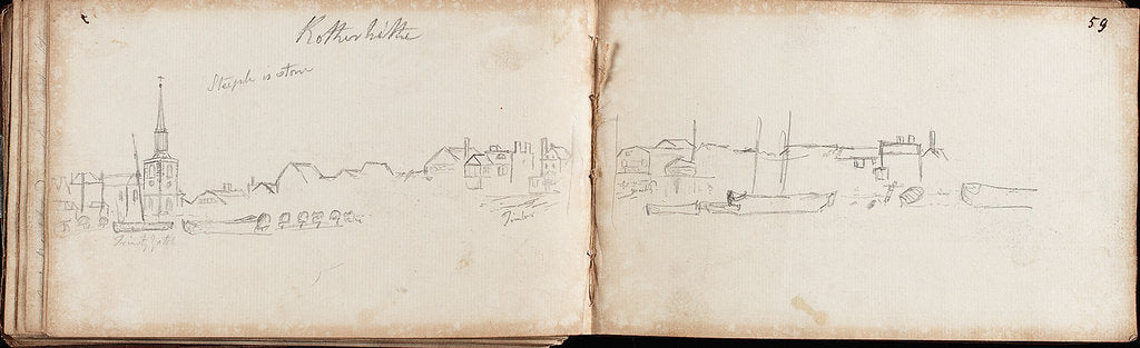 Detail of Slight sketch of part of panoramic view of Rotherhithe by Thomas Luny
