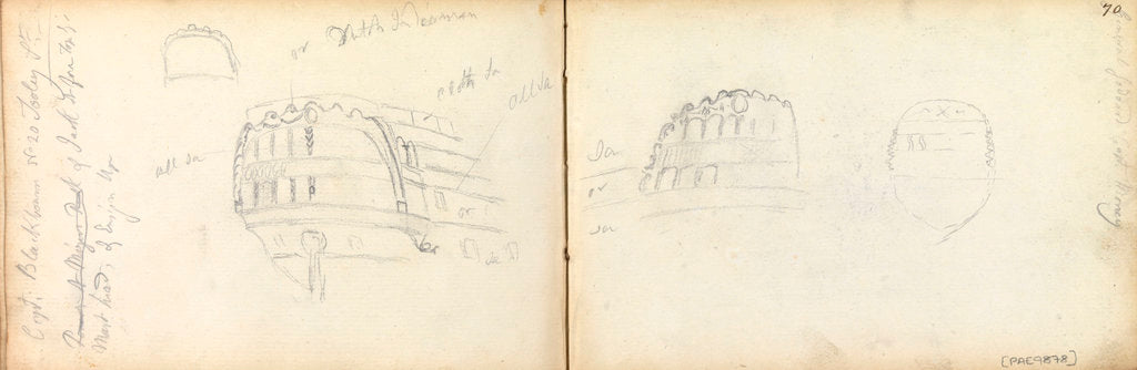 Detail of Slight sketches of stern of vessel 'General Goddard', with notes by Thomas Luny