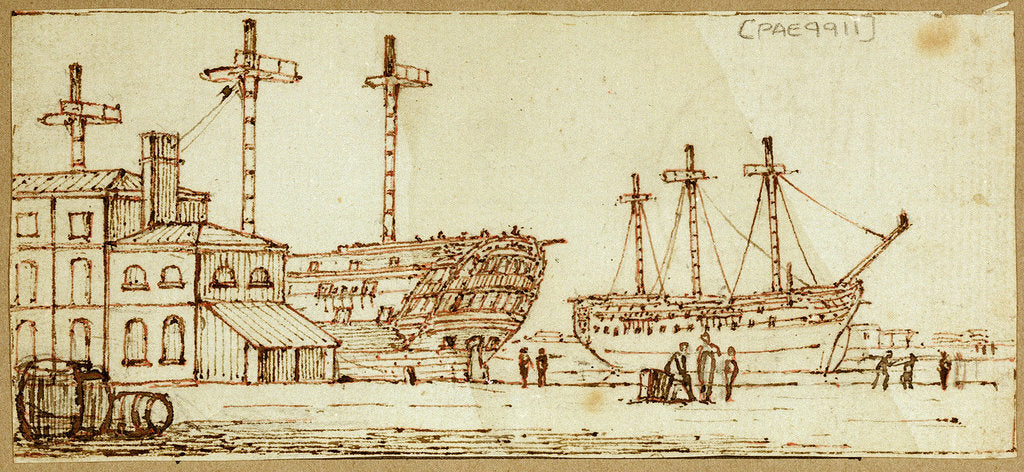 Detail of Dockyard scene with barrels and figures in foreground and two large sailing vessels in dock by Henry Moses