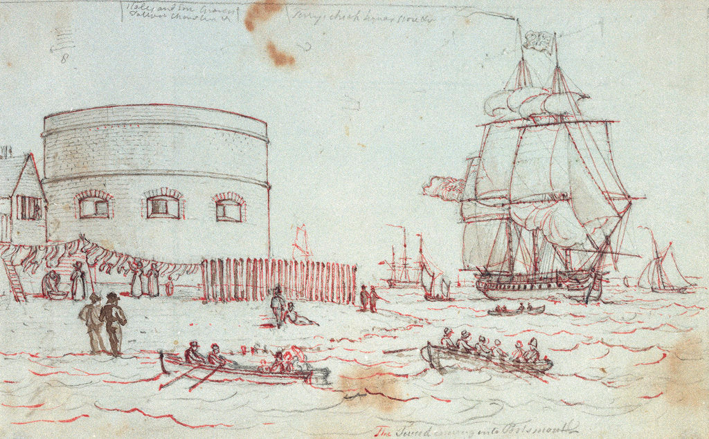 Detail of Sketch of a naval vessel the Tweed entering Portsmouth, with figures in rowing boats and on the shore in the foreground, and women hanging out washing, with inscriptions by Henry Moses