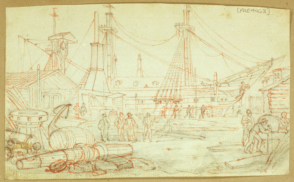 Detail of Figures working in a dockyard, a sailing vessel moored, with barrels, an anchor and a capstan in the left foreground by Henry Moses
