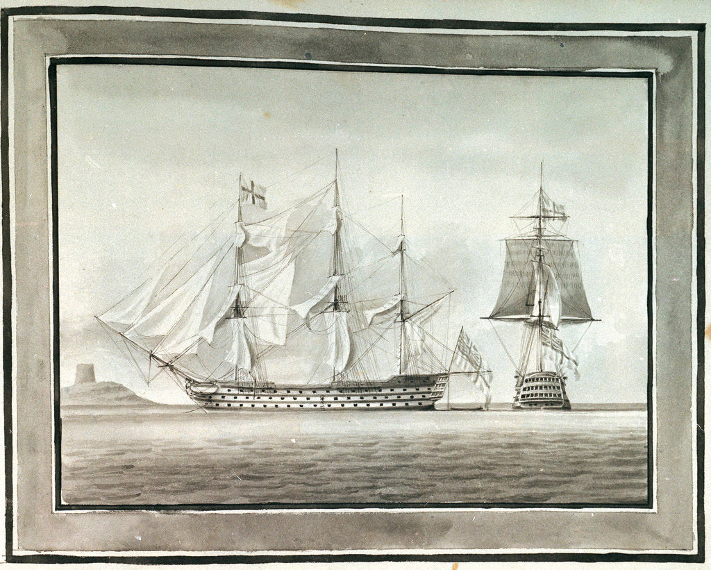 Detail of HMS 'Caledonia' in two positions by William Innes Pocock