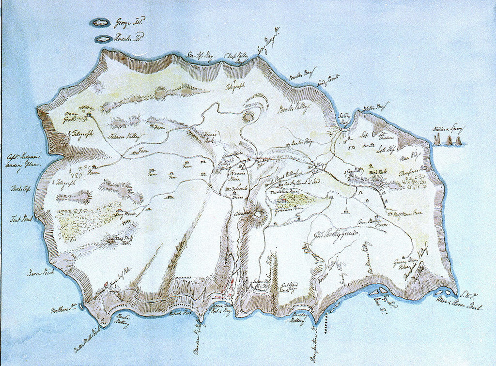 Map of the island of St Helena by William Innes Pocock