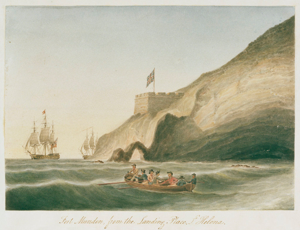 Detail of Fort Munden, from the Landing Place, St Helena by William Innes Pocock