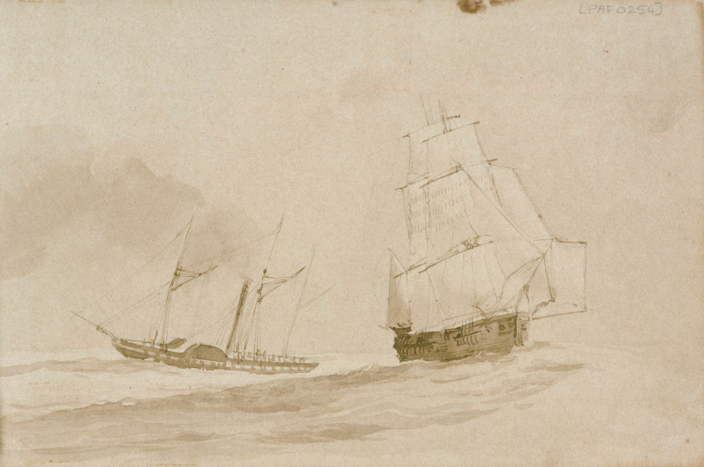 Detail of No II. Parting company with the Rhadamanthus off the Orkneys June 1836 by Stanley Owen