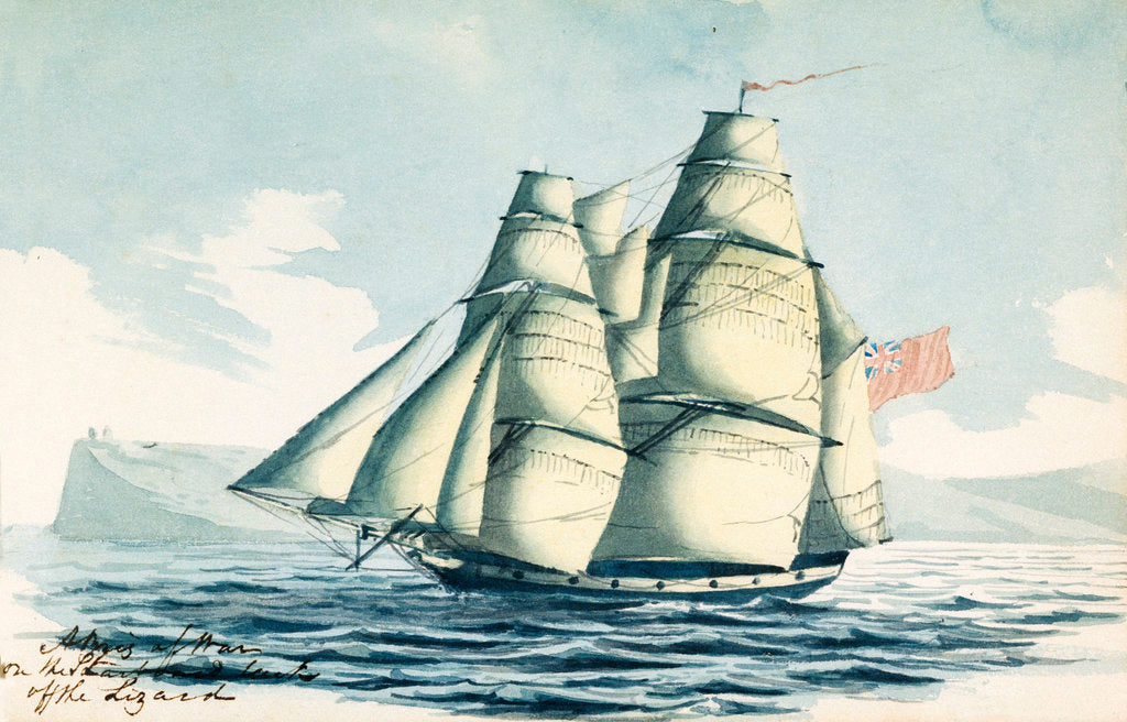 Detail of A brig of war on the starboard tack off the Lizard by Henry Studdy