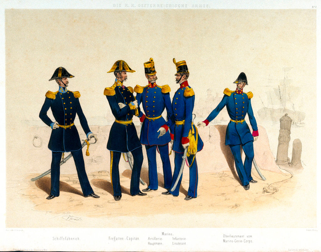 Detail of The midshipman, frigate captain, Naval artillery captain and infantry lieutenant, and Lieutenant of the Marine Engineer Corps standing in a portside scene by Franz Gerasch