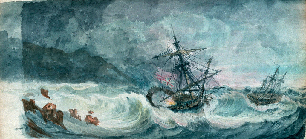 Detail of Partly dismasted British man-of-war being driven onto rocks in a storm, with another standing off by D. Tandy