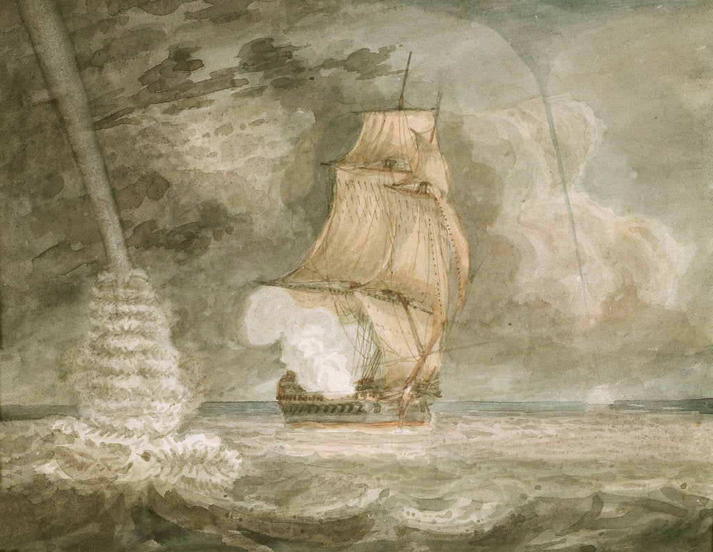 Detail of Naval vessel at sea, firing a gun, with waterspouts starboard and port by D. Tandy