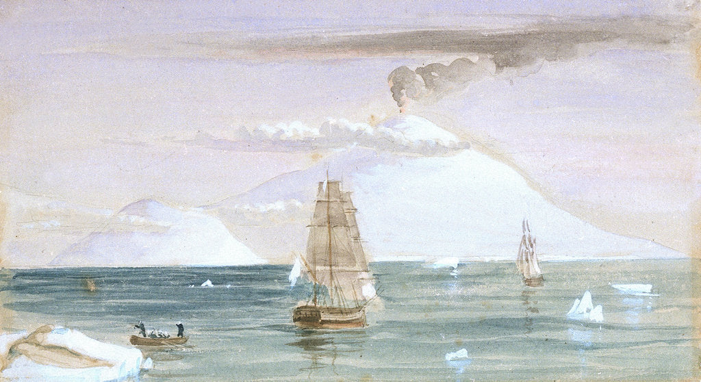 Detail of Beaufort Island and Mount Erebus. Discovered 28 January 1841 by J.E. Davis