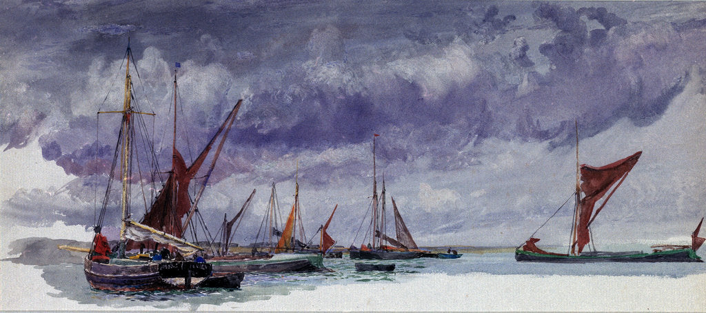 Detail of Sailing vessels at anchor under a stormy sky (unfinished) by William Lionel Wyllie