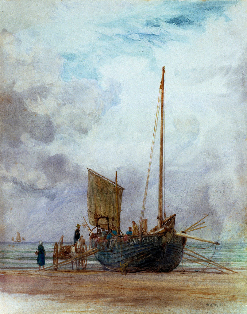 Detail of Beached fishing boat unloading into a cart, with figures by William Lionel Wyllie