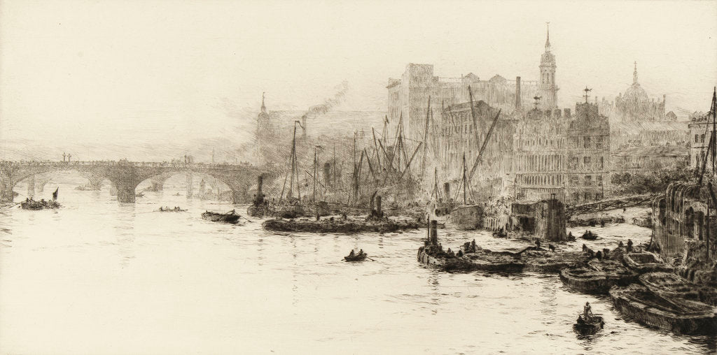 Detail of London Bridge, Cannon Street and Billingsgate by William Lionel Wyllie