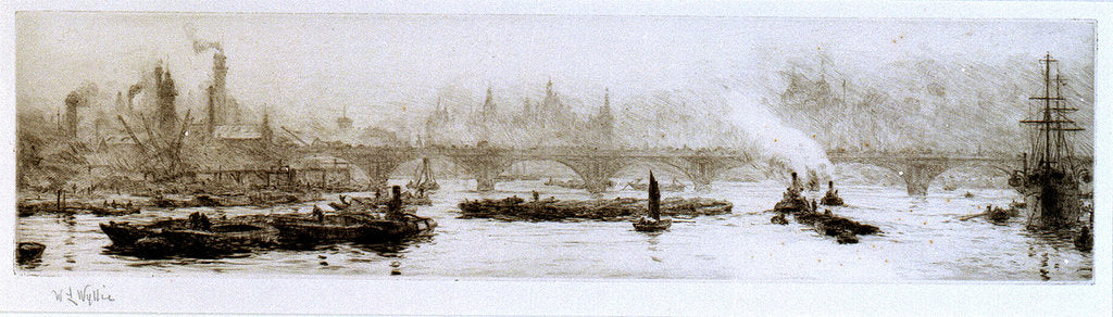 Detail of The Shot Tower and Waterloo Bridge by William Lionel Wyllie