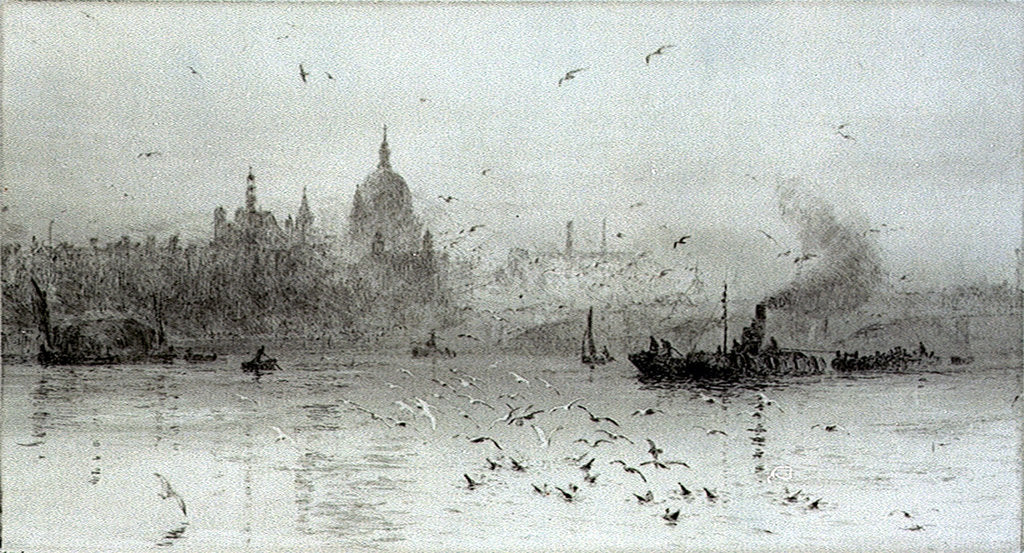 Detail of St Paul's and Blackfriars Bridge by William Lionel Wyllie