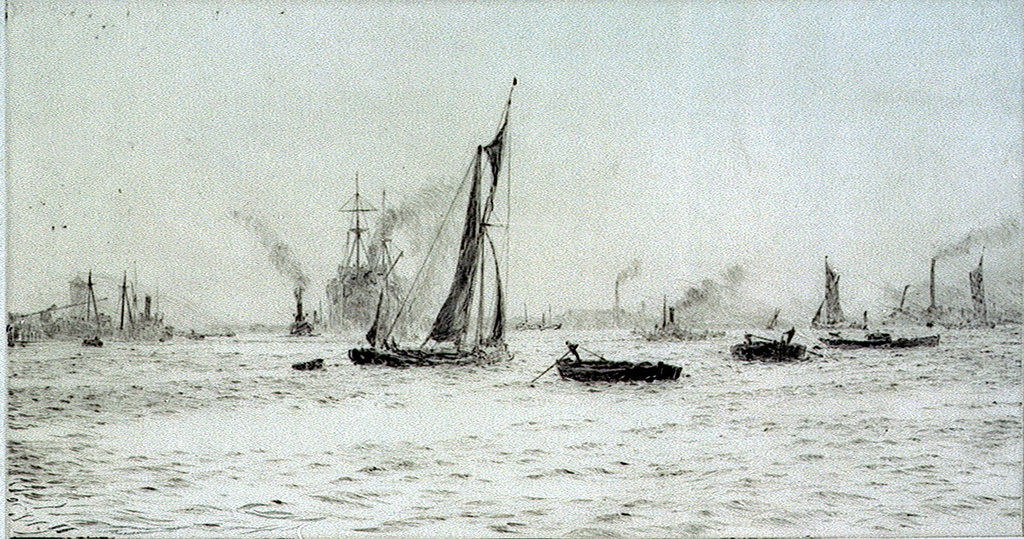 Detail of Barges and other craft on the River Thames? by William Lionel Wyllie