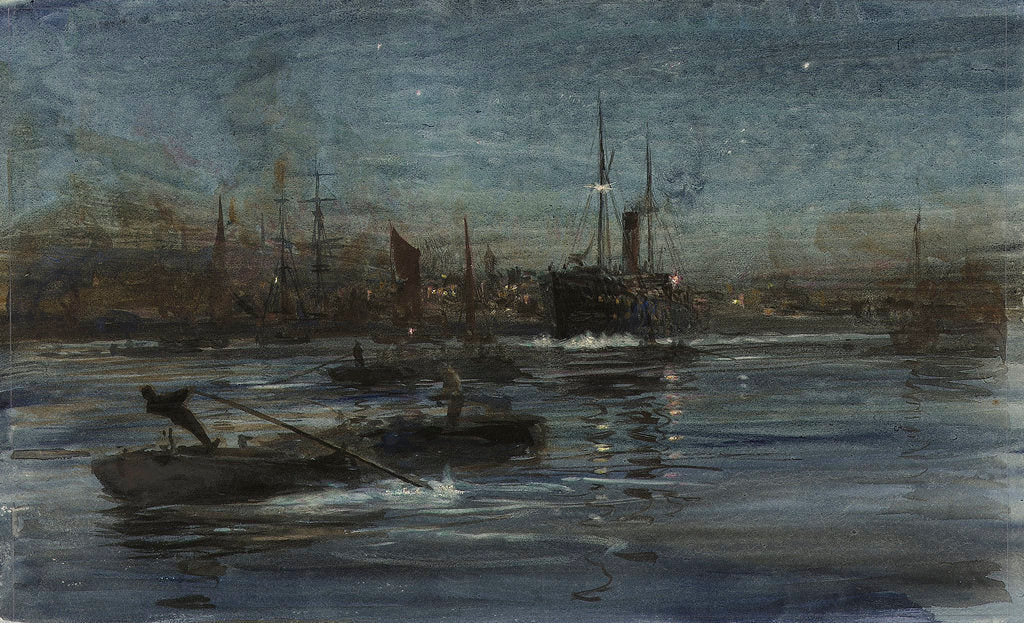 Detail of London river by William Lionel Wyllie